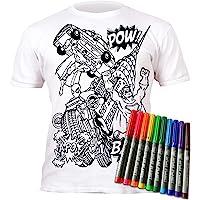 Splat Planet Camiseta SUPERHÉROE para niños. con impresión para Pintar y Colorear. Incluye 6 Colores mágicos Lavables…