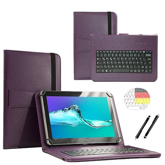 Deutsche Qwertz Tastatur für Lenovo Tab3 10 Plus TB3-X70F Tablet PC Etui Schutz Hülle mit Touch Pen - Tastatur 10.1 Zoll Lila