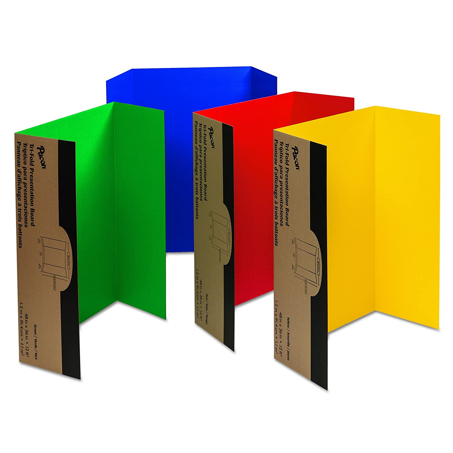 Pacon Corrugated Presentation Board, 48x36, Assorted 4 Colors 48x36 Pacon Corp. 37654