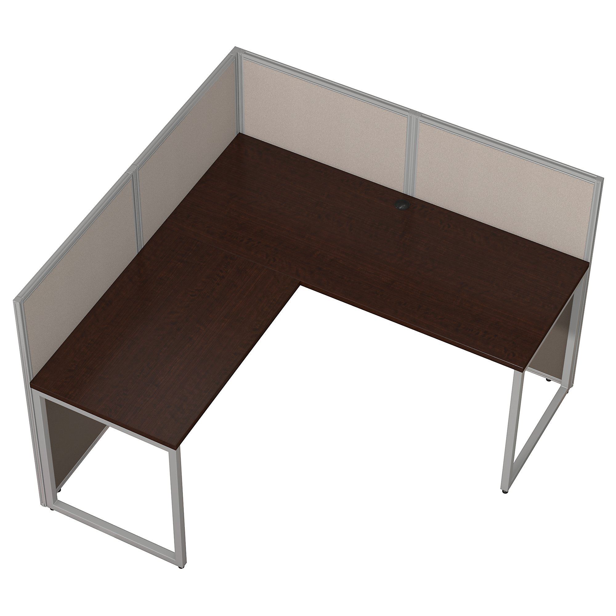 Bush Business Furniture Easy Office 60W L Shaped Desk Open Office in Mocha Cherry by Bush Business Furniture (Image #3)