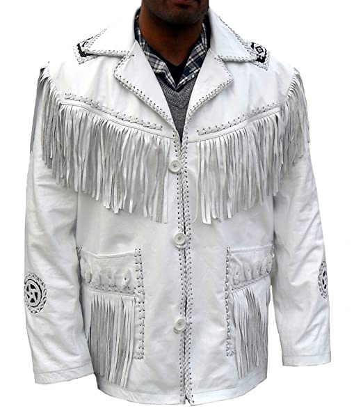 coolhides Men's Cowboy White Suede Leather Jacket, Fringed & Beaded