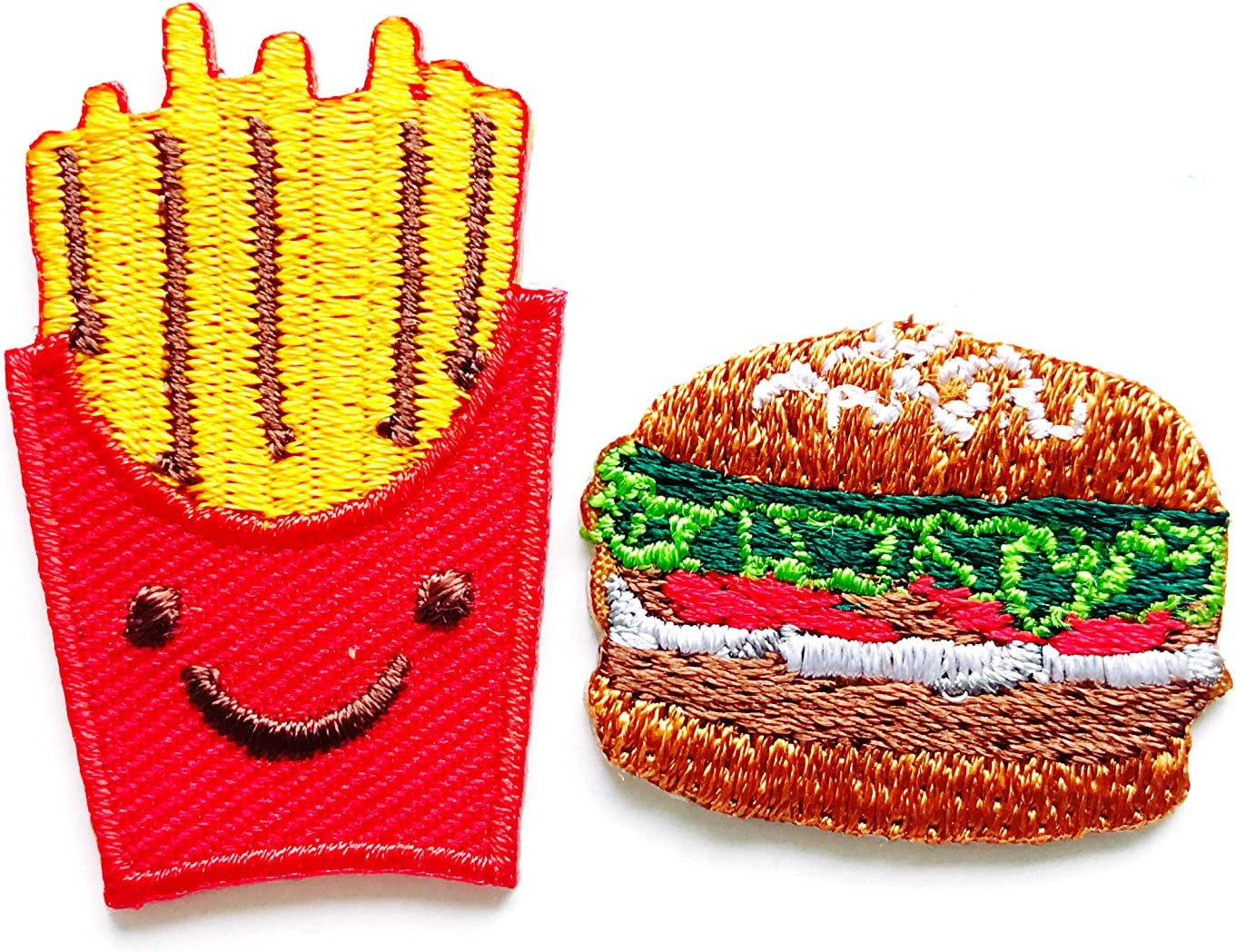 TH Set of 2 Tiny. Mini French Fries Hamburger Fast Food Cute Cartoon Sew Iron on Embroidered Applique Badge Sign Patch Clothing Costume