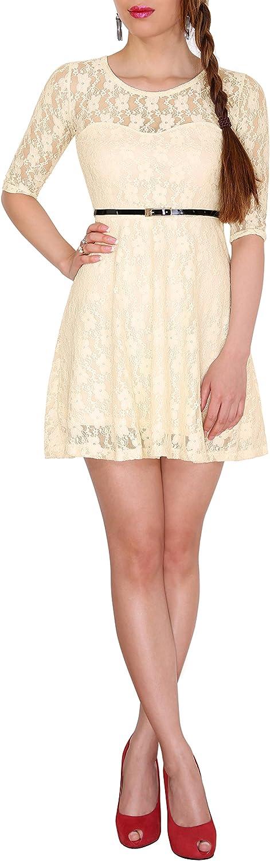 EXTRA KURZ S/ü/ßes Prinzessin Mini Kleid 3//4 Arm Sodacoda Damen Spitzen-Kleid