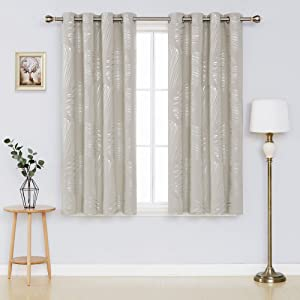 Deconovo Thermal Insulated Blackout Curtains Room Darking Panels Window Curtain Drapes for Bedroom 52 x 45 Inch Light Beige 2 Panels