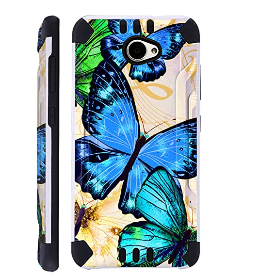 new arrival 02bdd deaa3 For Huawei Ascend XT2 / Huawei Ascend XT 2 / Huawei Elate 4G Case Brushed  Metal Texture Hybrid TPU KombatGuard Phone Cover (Blue Butterfly)
