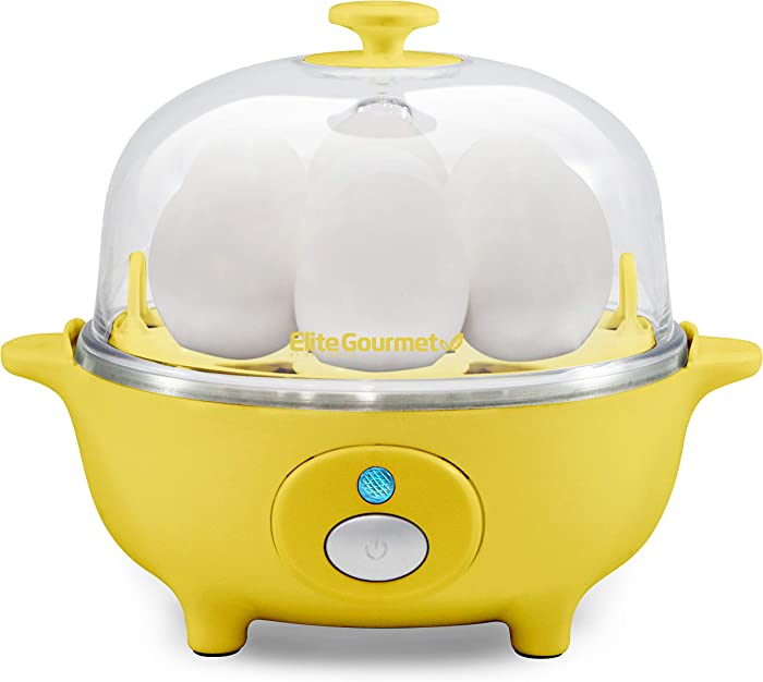 Elite Gourmet EGC-007Y Easy Electric Poacher, Omelet Eggs & Soft, Medium, Hard-Boiled Egg Boiler Cooker with Auto Shut-Off and Buzzer, Measuring Cup Included, BPA Free, 7, Yellow