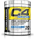 Cellucor - C4 Mass Premium Pre Workout Powder for Muscle Building with Creatine, Beta Alanine and TeaCor - Icy Blue Razz - 30 Servings