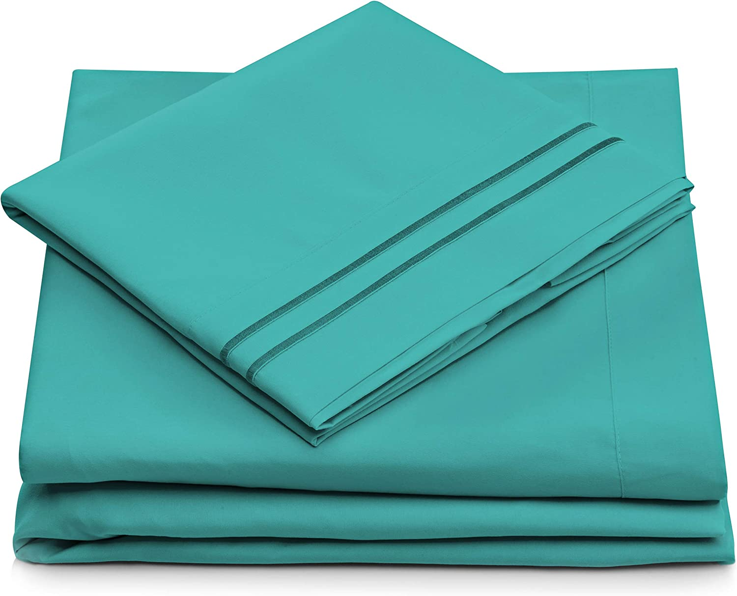 Queen Size Bed Sheets - Turquoise Luxury Sheet Set - Deep Pocket - Super Soft Hotel Bedding - Cool & Wrinkle Free - 1 Fitted, 1 Flat, 2 Pillow Cases - Teal Queen Sheets - 4 Piece