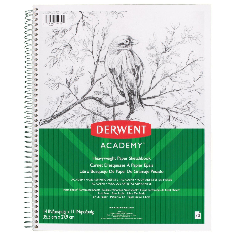 Derwent Academy Sketch Book, Heavyweight Paper, 14'' x 11'', 70 Sheets, Wirebound (54960)