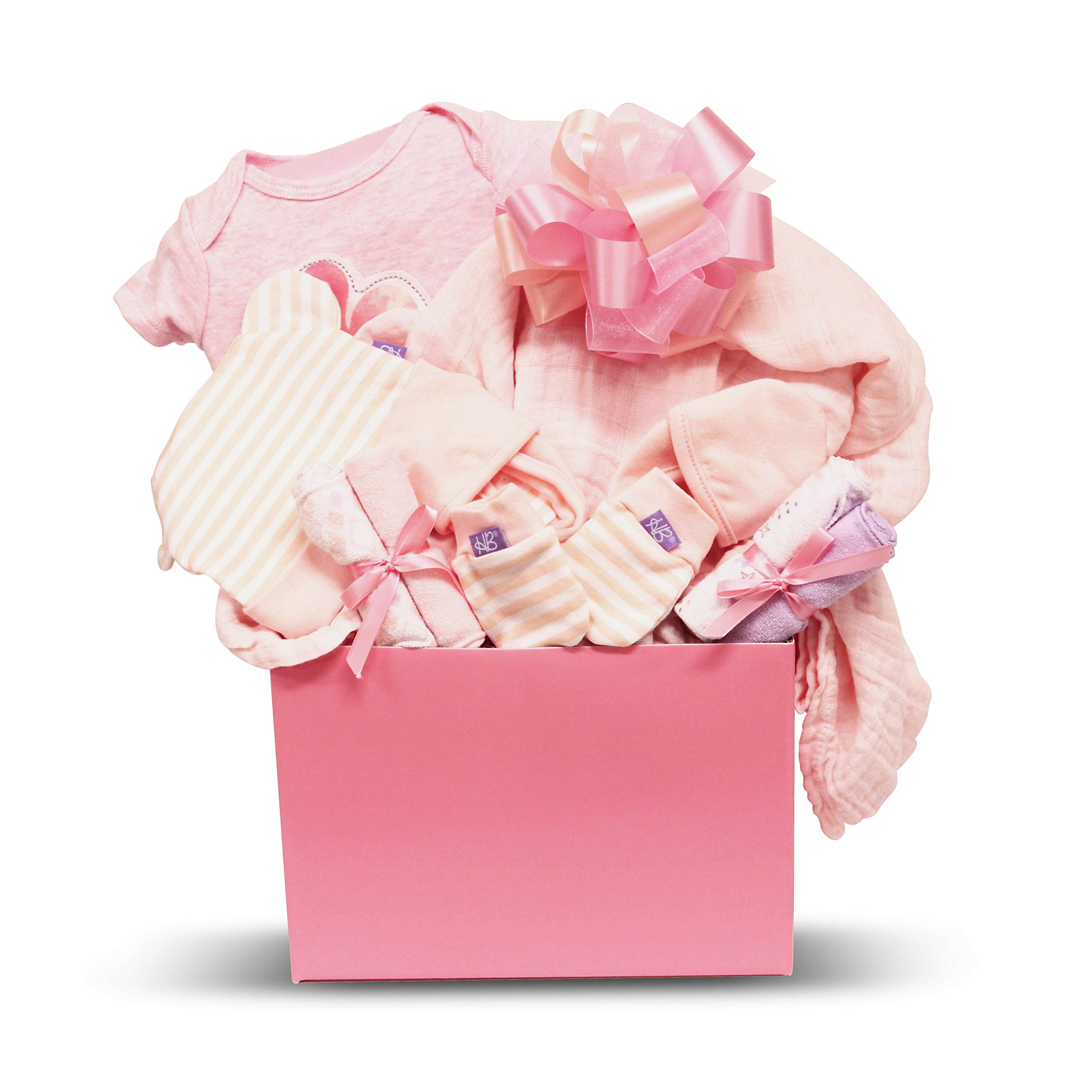 A Little Love Baby Girl Gift Basket with Cotton Onesie, Swaddling Blanket, Hat, Socks, Non-Scratch Mittens and Washclothes