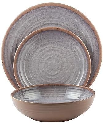 Color: Light Grey Clay Collection | Shatter-Proof and Chip-Resistant Melamine Salad Plates Melange 6-Piece 100/% Melamine Salad Plate Set