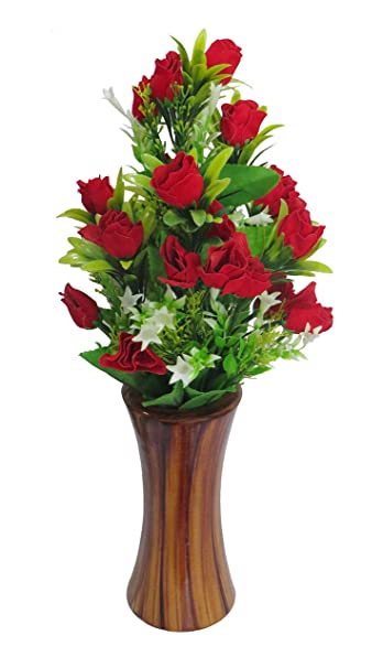 Buy Emani Artificial Flower Pot With Rose Flower Flower Vase For Home Decoration Flower Pot With Artificial Flowers Artificial Flower Shining Wooden Vase Online At Low Prices In India Amazon In