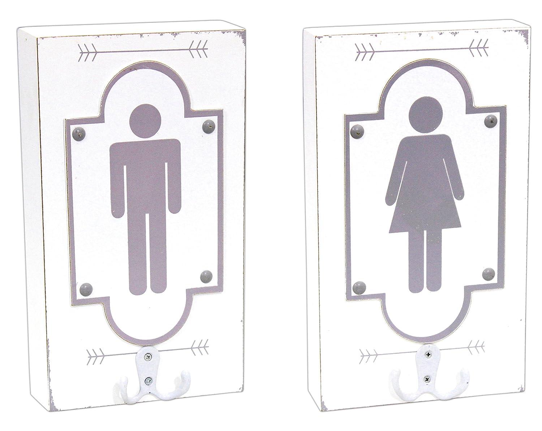 Adams/&Co Set of 2 Boy//Girl Wooden Signs 6 X 10.5
