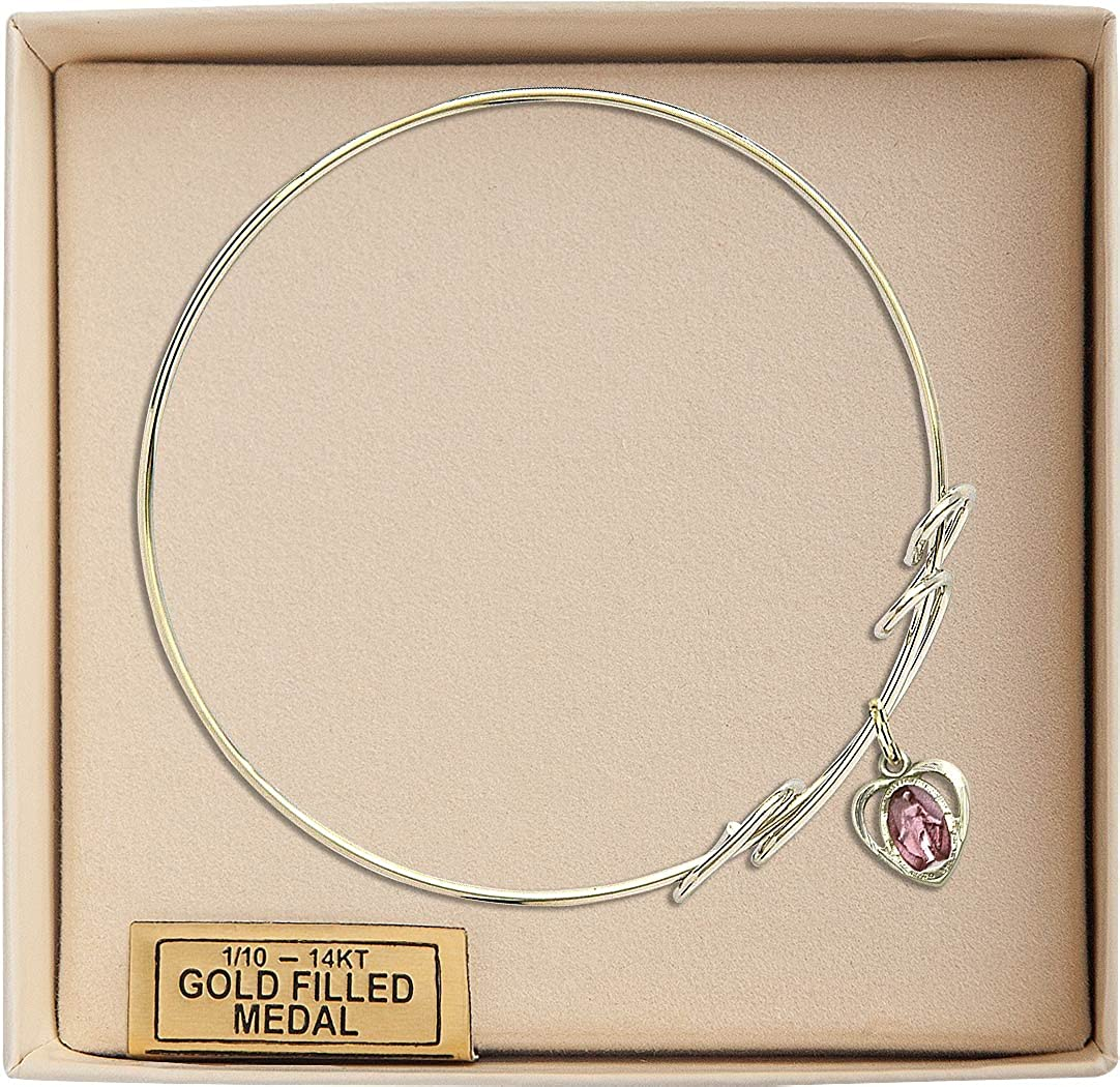Miraculous Charm On A 8 Inch Round Double Loop Bangle Bracelet