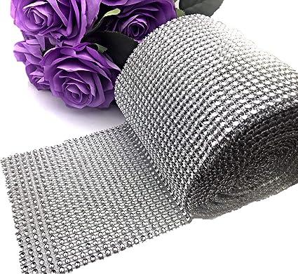 5 Yards Diamond Rhinestone Ribbon Mesh Wrap Wedding Party Floral Decorations