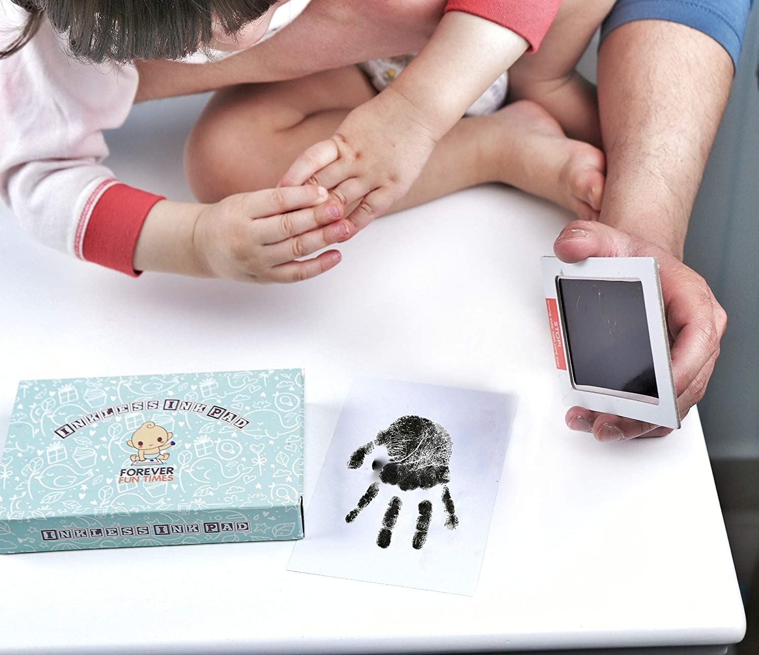 Pink, 2 Pads Quick and Easy Two-Step Inkless Print Kit No-Touch Inkless Baby Hand and Footprint Kit Painless Perfect Prints Without a Drop of Ink on Your Child Baby Safe Ink Pad