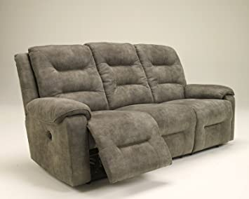 Ashley Furniture Signature Design   Rotation Recliner Sofa   Power Reclining  Couch   Smoke Gray Brown