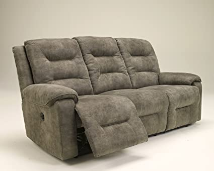 Elegant Ashley Furniture Signature Design   Rotation Recliner Sofa   Power Reclining  Couch   Smoke Gray Brown