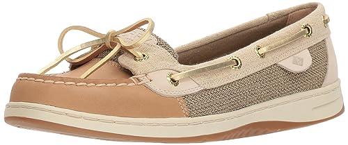 ad8782a697 Sperry Women s Angelfish Boat Shoe Linen Gold 10 Medium US
