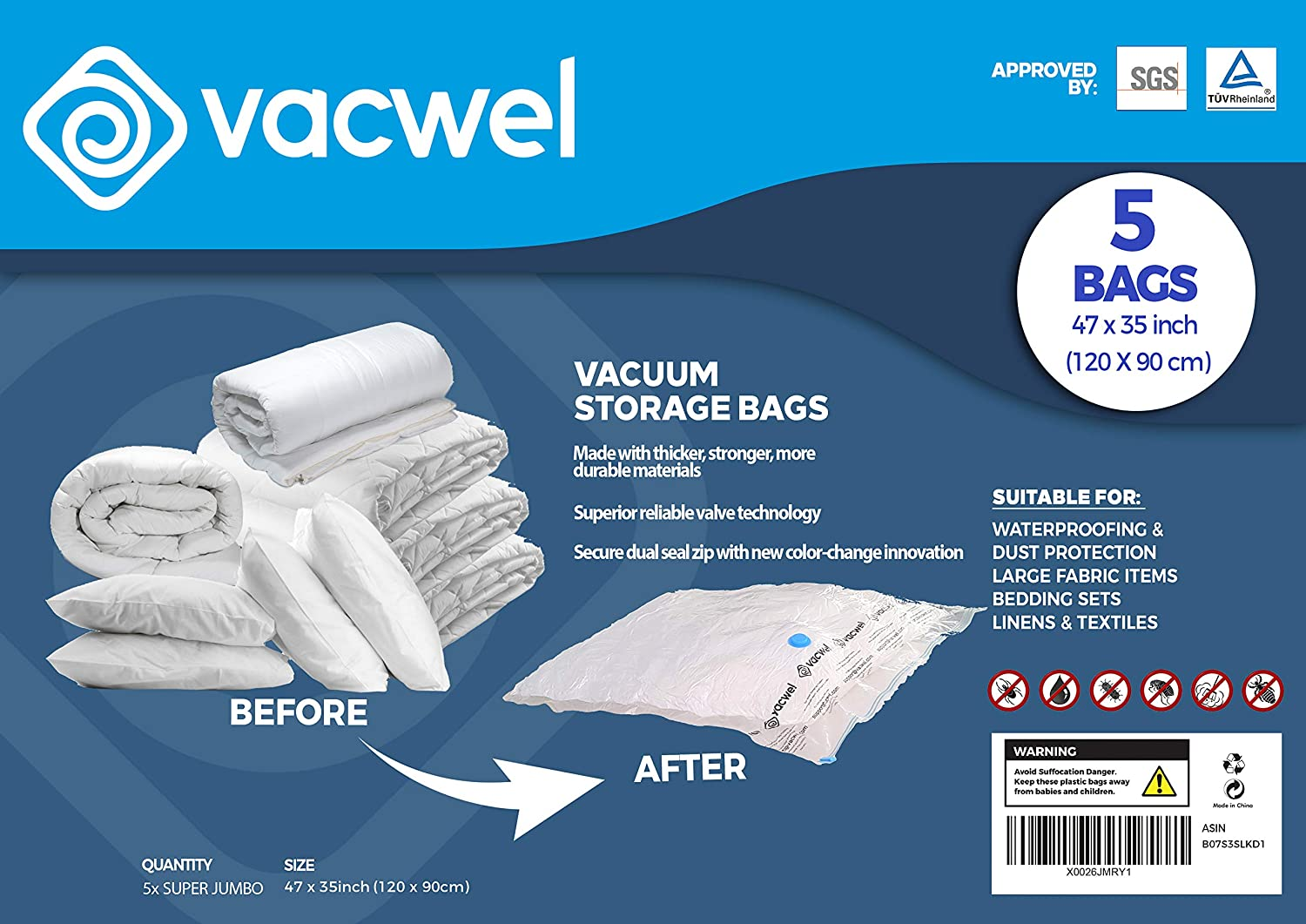 Jumbo XXL Vacuum Storage Bags, 47 x 35 Space Saver Bags for Clothes, King Comforters or a Small Mattress, Thick & Strong XXL Size (5 XXXL Bag Pack)