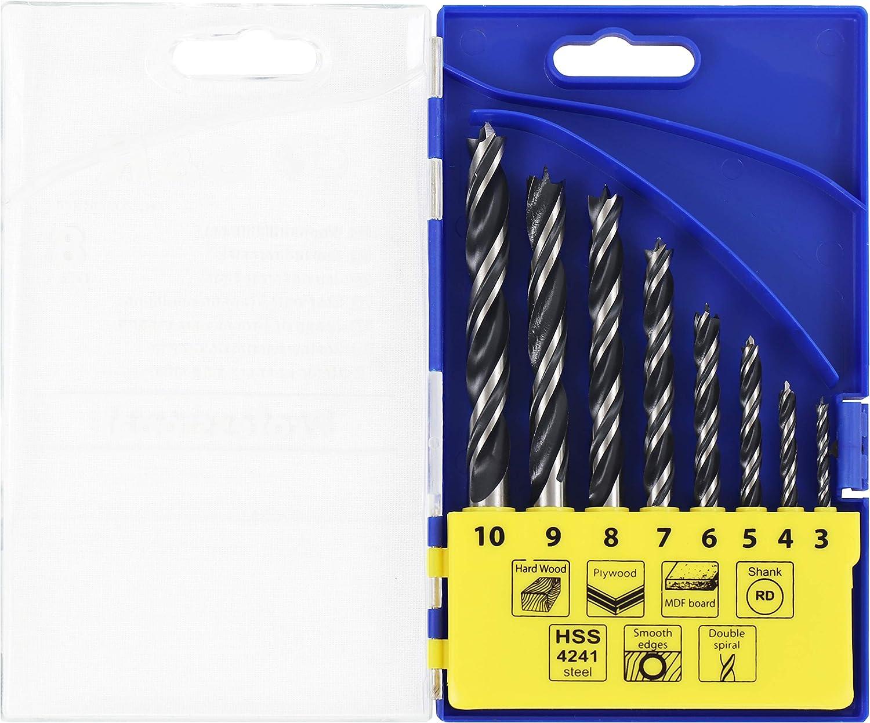 7 D/übelbohrer 9 8 HSS-Bohrer mit effektiver Doppelspirale S/&R Holzbohrer Premium Holzspiralbohrer Satz 8-tlg: 3 4 6 10 mm in Kunststoffbox optimierte Bohrerspitze 5