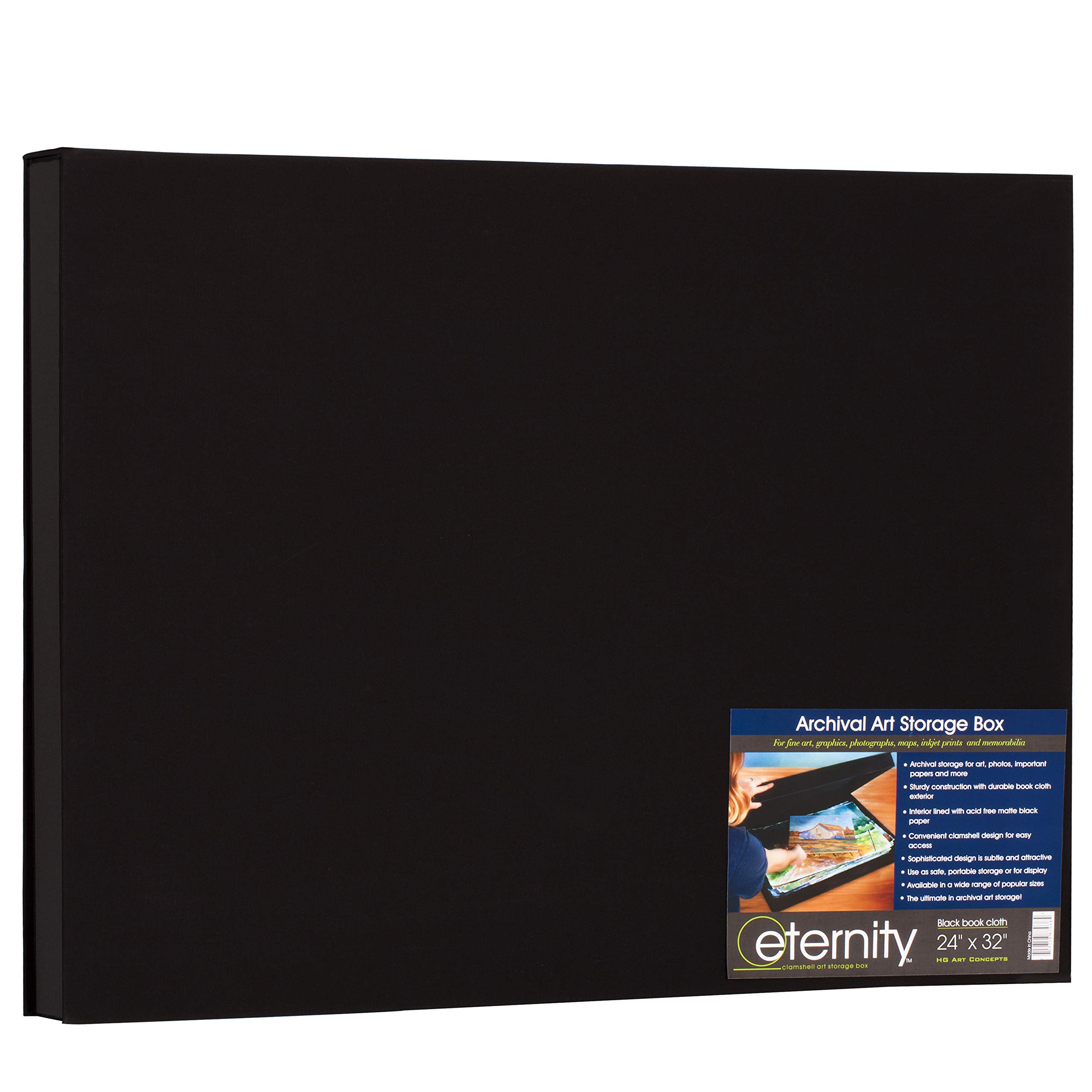 HG Concepts Art Photo Storage Box Eternity Archival Clamshell Box for Storing Artwork, Photos & Documents Deluxe Acid-Free Sturdy & Lined with Archival Paper - [Black - 24'' x 32'']