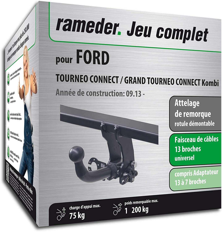 160588-11574-1-FR Rameder Attelage rotule d/émontable pour Ford TOURNEO Connect//Grand TOURNEO Connect Kombi Faisceau 13 Broches