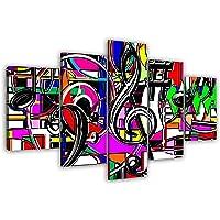 LaboratorioRadice Quadri Moderni su Tela cm 80 x 150 (Dim.Pannelli cm.30x40-30x60-30x80-30x60-30x40) Quadri Moderni Soggiorno in Legno Pieno Design Moderno I Colori della Musica