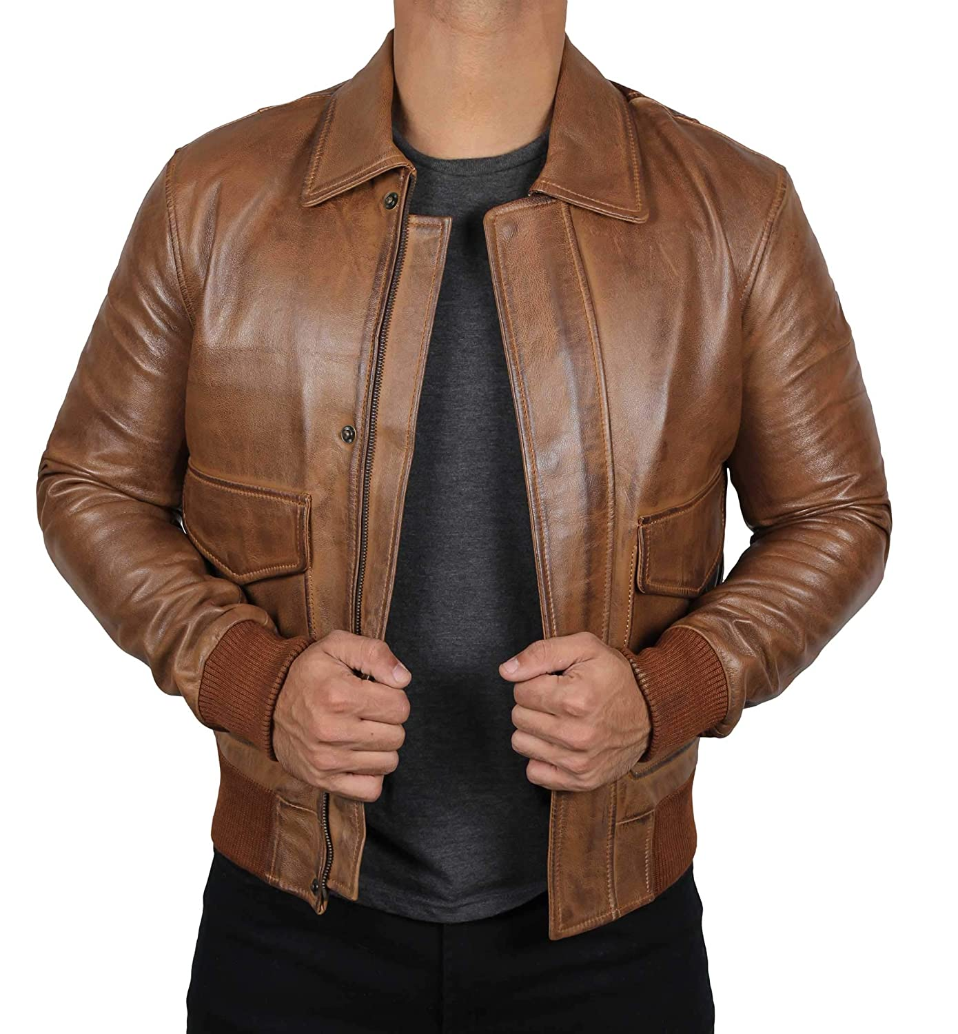 b96f76bf2 Leather Bomber Jackets for Men - Genuine Lambskin Mens Leather Jacket
