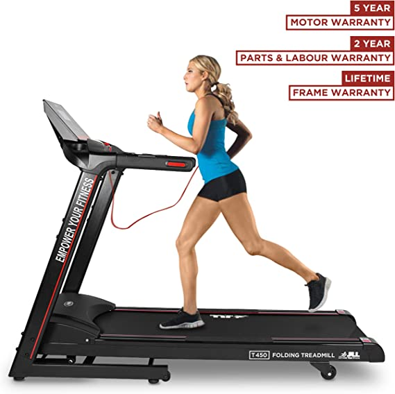 JLL T450 Digital Folding Treadmill, 2020 New Generation Digital Control 4.5HP Motor, 20 Incline Levels,0.3km/h to 18km/h, 20 Programmes, Bluetooth & Speakers, 2-Year Parts&Labour,5-Year Motor Cover