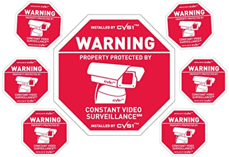 Security camera sign plus 6 security camera decals Outdoor CCTV Sign & Decals Set!