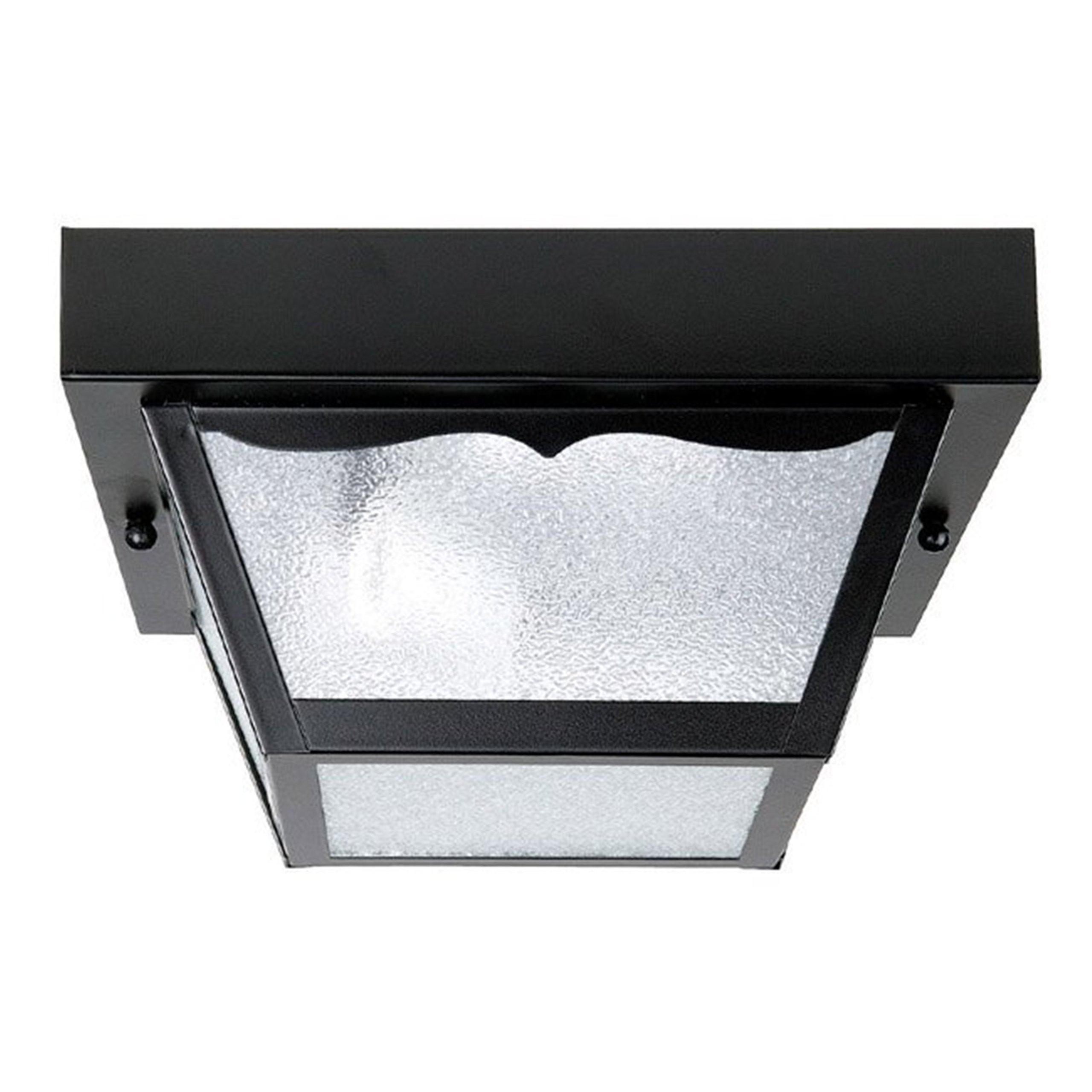 Capital Lighting 9937BK 1-Light Carport Steel Exterior Flush Mount, Black Finish