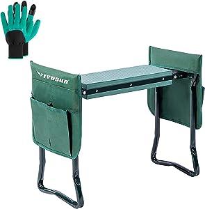 VIVOSUN Portable Garden Kneeler Seat Foldable Garden Bench with EVA Foam Pad 2 Tool Bags for Outdoor Gardening, with Gloves