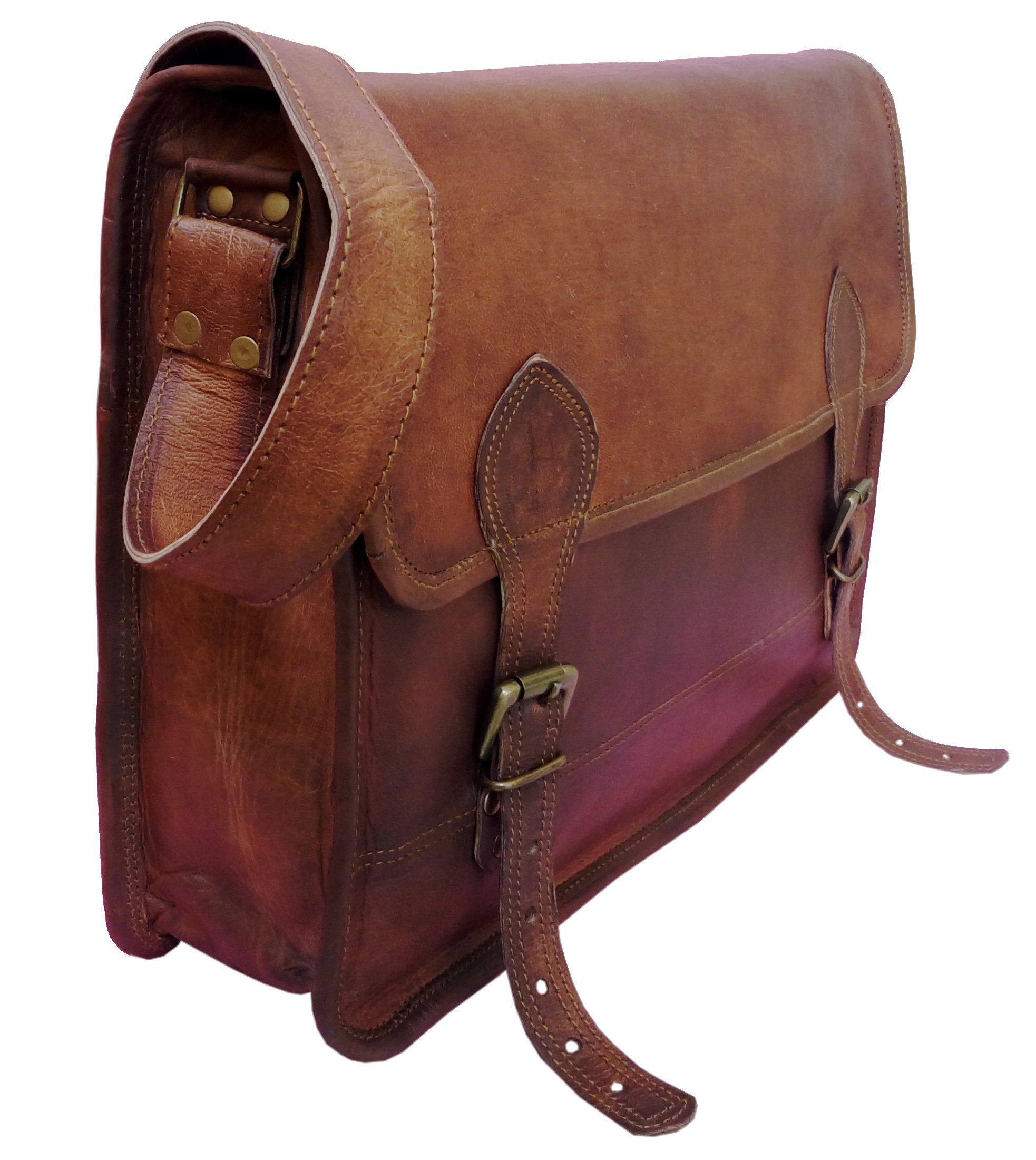 Handolederco Leather Unisex Real Leather Messenger Bag for Laptop Briefcase Satchel ...