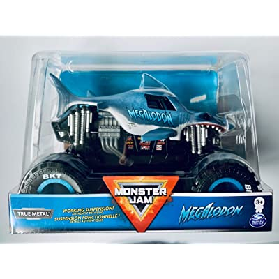 Spin Master Monster Jam 2020 Megalodon 1:24 Scale, True Metal Silver Suspension!: Toys & Games