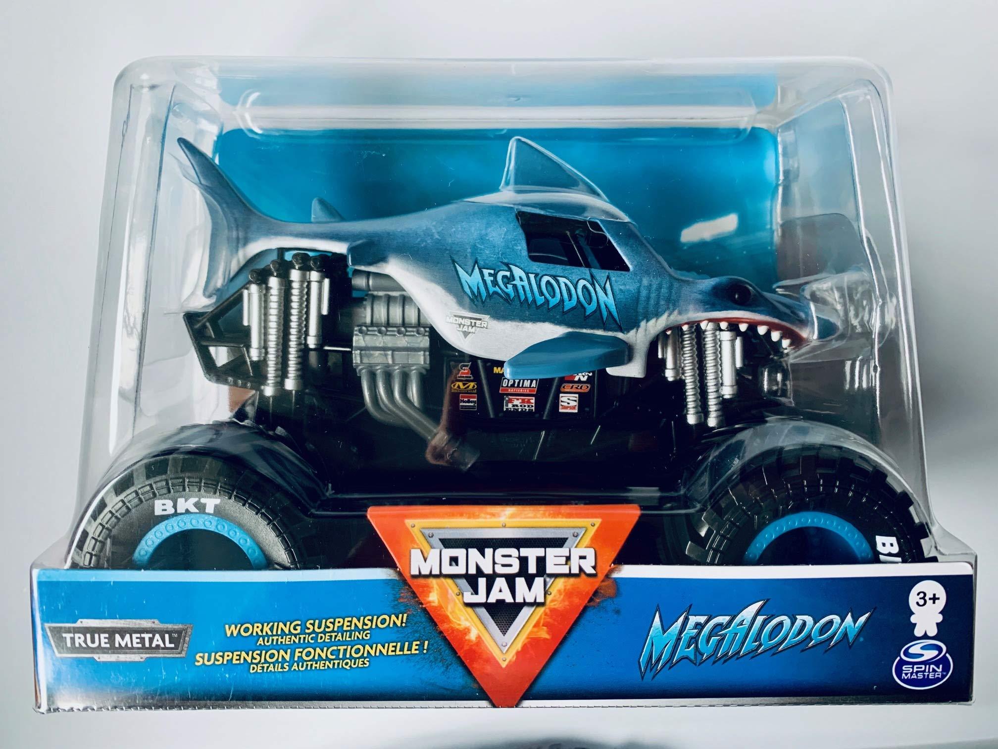 Spin Master Monster Jam 2020 Megalodon 1:24 Scale, True Metal Silver Suspension!