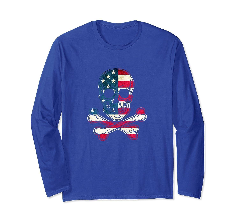 American Flag Skull And Crossbones Long Sleeve T-Shirt-mt