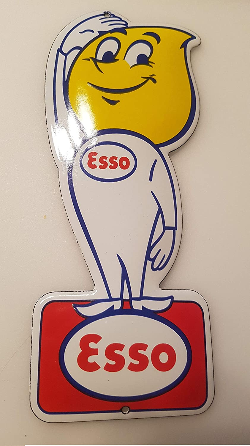 EMAILLE Enamel Door Sign ESSO Drop BOY Shield Glossary. Porcelain Enamel! EMAILLE Size = 4x8 INCH / 10X20cm! + Weight = 0,22lb / 100grams!
