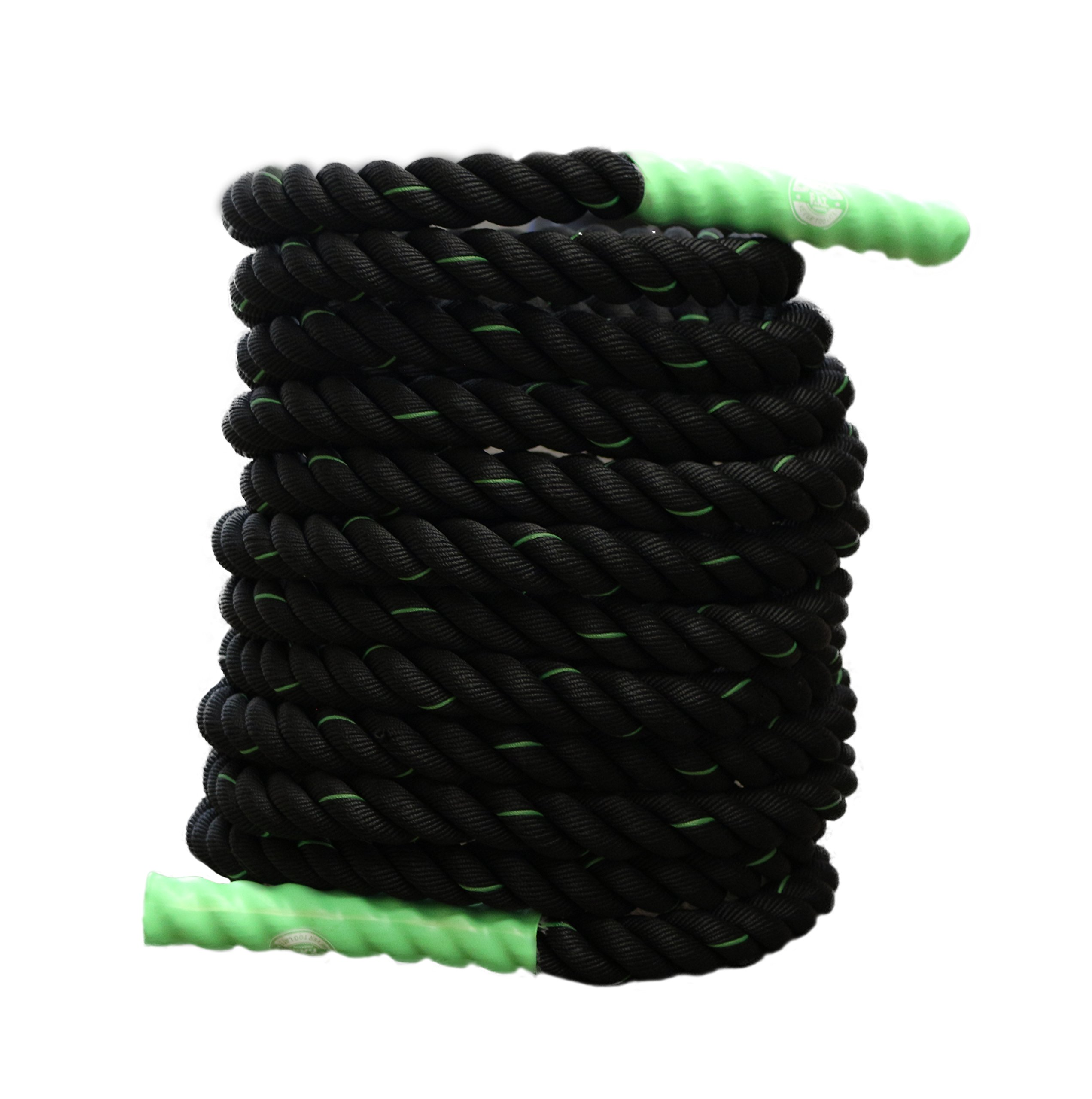 Battle Ropes Fitness | Cardio Exercise Rope Training | Best Gym Workout for Home - 40' feet x 1.5'' inch - Green by Fitness Answered Training (Image #2)