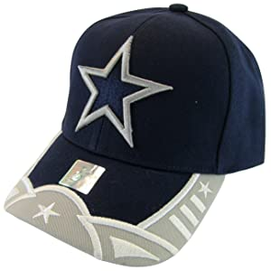 Dallas Large Star Men's Bent Brim Adjustable Baseball Cap (Navy)
