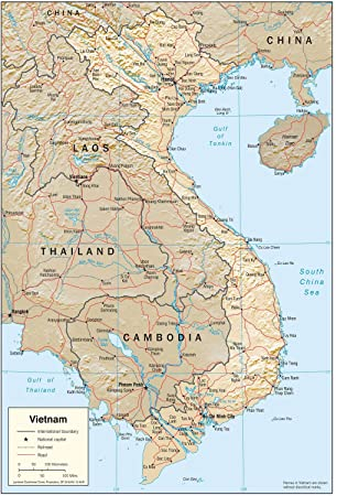 Exceptional Map Poster   Vietnam Physical Map 16.5u0026quot ...