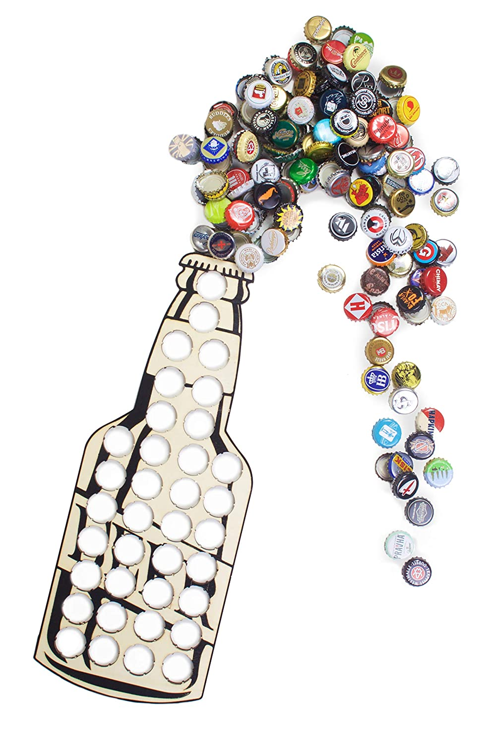 Beer Bottle Cap Holder, Rustic Decor Art for Home, Bar & Man Cave: Wood Display Sign, Unique for Dad & Alcohol Birthday Present for Men, Can Hold 36 Caps, Lacquer Finish, 17 x 6.5 inch