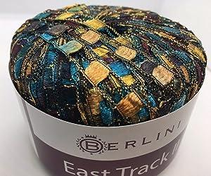 Berlini East Track II Metallic Ladder Ribbon Yarn 50 Gram 98 Yards #144 Timberland - Maroon, Gold, Tan, Teal, Turquoise