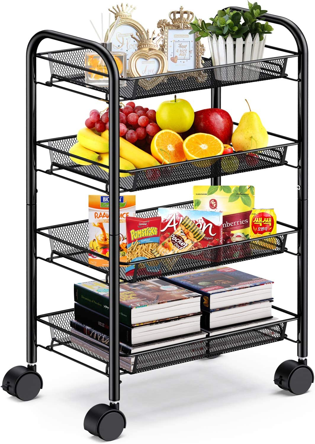 Pipishell 4-Tier Mesh Wire Rolling Cart Multifunction Utility Cart Metal Kitchen Storage Cart with 4 Wire Baskets Lockable Wheels for Home, Office, Kitchen (Black)