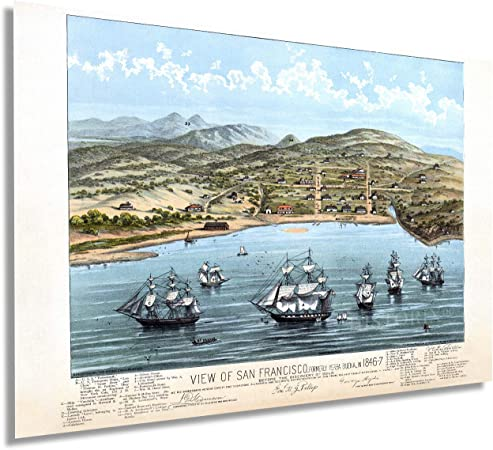 Amazon Com Historix Vintage 1884 San Francisco Map Art View Of Vintage San Francisco Formerly Yerba Buena In 1846 1847 24x30 Inch Vintage Map Wall Art Bay Area Map Art East bay should just be alameda county, and east bay should be another font size larger. historix vintage 1884 san francisco map