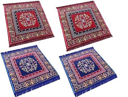 Kuber Industries Velvet Pooja Mat Set of 4 Pieces - 24