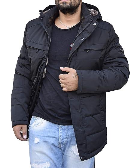 Antony Morale Giaccone Giubbotto Parka Uomo Invernale Giacca Soprabito Elegante Cappotto Sartoriale Slim Fit (Nero, Blu) con Cappuccio Removibile 2