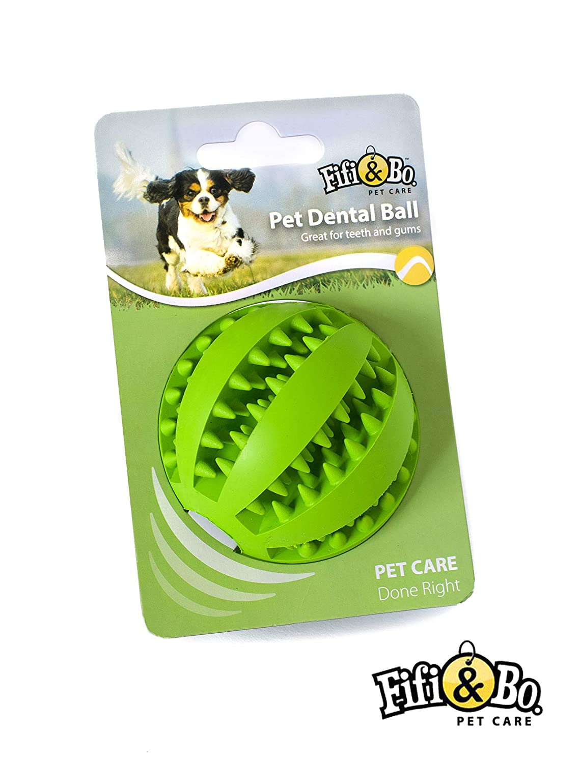 Fifi & Bo Dog Rubber Ball Chew Toy, Dog Food Treat Feeder, Tooth Cleaning Ball (Green)