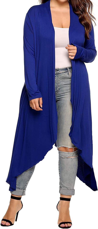Bridene - Cárdigan para mujer, manga larga, asimétrica, abierta, talla grande, manga larga