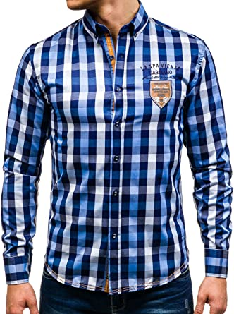 BOLF – Camisa Clásico cuadrícula Camisa Camisa Hombre Slim Fit 2b2 Diseño Mittelblau Medium: Amazon.es: Ropa y accesorios